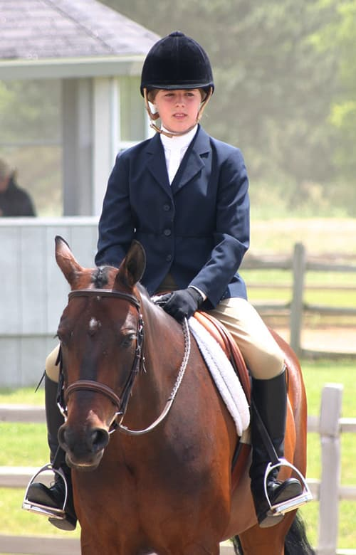 Typical clothing worn by English horse riders