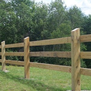 Wooden rails are a common type of horse fencing
