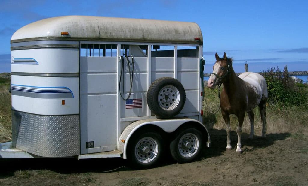Get your horse accustomed to the trailer so he doesn't think its scary