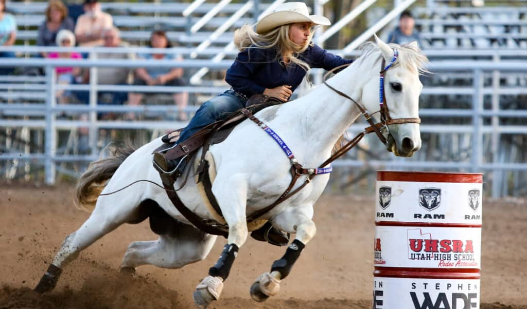 Barrel racing is one of the most popular Western riding disciplines